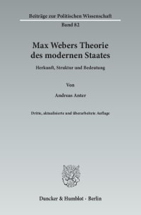 Cover Max Webers Theorie des modernen Staates