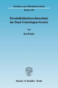 Cover Persönlichkeitsrechtsschutz im Stasi-Unterlagen-Gesetz