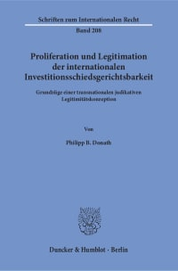 Cover Proliferation und Legitimation der internationalen Investitionsschiedsgerichtsbarkeit