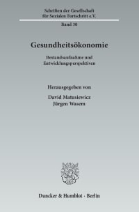 Cover Gesundheitsökonomie