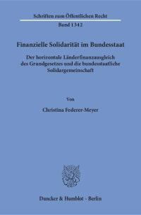 Cover Finanzielle Solidarität im Bundesstaat