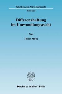Cover Differenzhaftung im Umwandlungsrecht