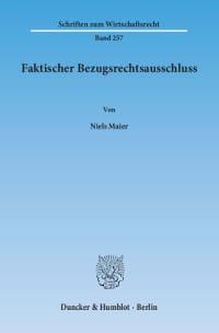 Cover Faktischer Bezugsrechtsausschluss