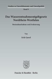 Cover Das Wasserentnahmeentgeltgesetz Nordrhein-Westfalen