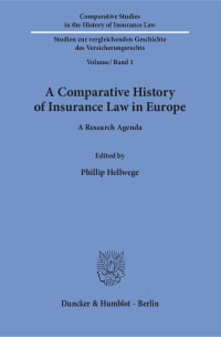 Cover A Comparative History of Insurance Law in Europe