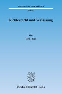 Cover Richterrecht und Verfassung