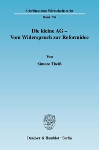 Cover Die kleine AG - Vom Widerspruch zur Reformidee