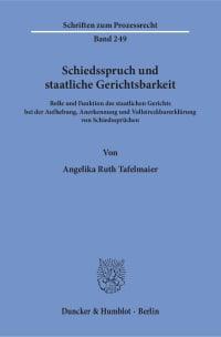 Cover Schiedsspruch und staatliche Gerichtsbarkeit