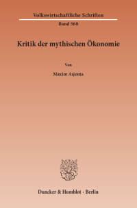 Cover Kritik der mythischen Ökonomie