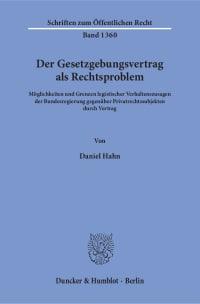 Cover Der Gesetzgebungsvertrag als Rechtsproblem