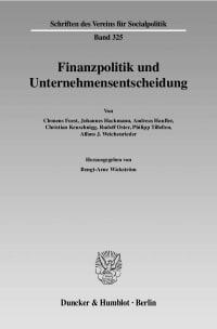 Cover Finanzpolitik und Unternehmensentscheidung