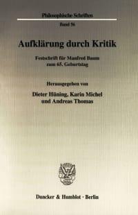 Cover Aufklärung durch Kritik
