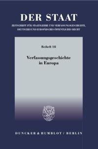 Cover Verfassungsgeschichte in Europa