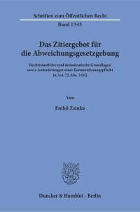 Cover Das Zitiergebot für die Abweichungsgesetzgebung