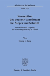 Cover Konzeption des pouvoir constituant bei Sieyès und Schmitt