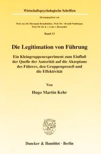 Cover Die Legitimation von Führung
