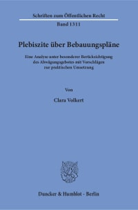 Cover Plebiszite über Bebauungspläne