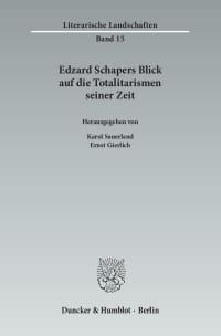 Cover Edzard Schapers Blick auf die Totalitarismen seiner Zeit