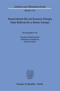 Cover Staatsreform für ein besseres Europa / State Reform for a Better Europe