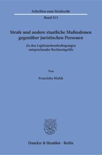 Cover Strafe und andere staatliche Maßnahmen gegenüber juristischen Personen
