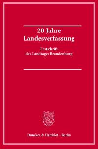 Cover 20 Jahre Landesverfassung