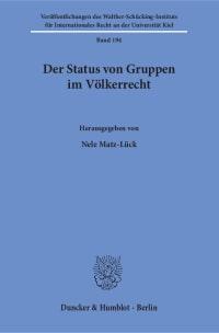 Cover Der Status von Gruppen im Völkerrecht