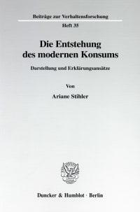 Cover Die Entstehung des modernen Konsums