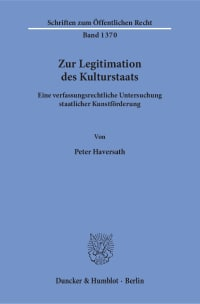 Cover Zur Legitimation des Kulturstaats