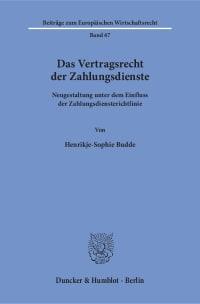 Cover Das Vertragsrecht der Zahlungsdienste