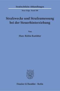 Cover Strafzwecke und Strafzumessung bei der Steuerhinterziehung