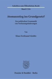 Cover Atomausstieg ins Grundgesetz?