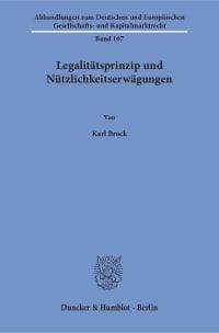 Cover Legalitätsprinzip und Nützlichkeitserwägungen