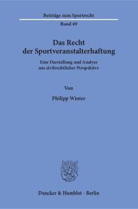 Cover Das Recht der Sportveranstalterhaftung