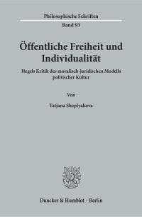 Cover Öffentliche Freiheit und Individualität
