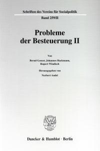 Cover Probleme der Besteuerung II