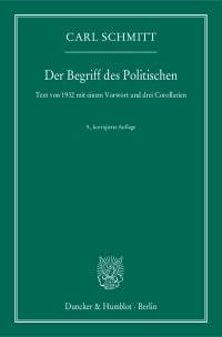 Cover Der Begriff des Politischen