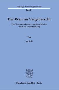 Cover Der Preis im Vergaberecht