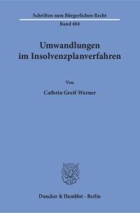 Cover Umwandlungen im Insolvenzplanverfahren