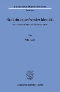 Cover Handeln unter fremder Identität