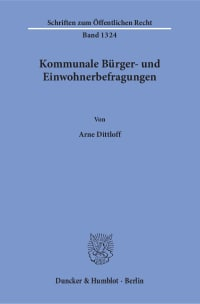 Cover Kommunale Bürger- und Einwohnerbefragungen