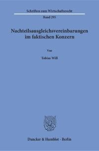 Cover Nachteilsausgleichsvereinbarungen im faktischen Konzern