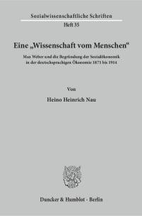 """Cover Eine """"Wissenschaft vom Menschen"""""""