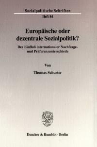 Cover Europäische oder dezentrale Sozialpolitik?