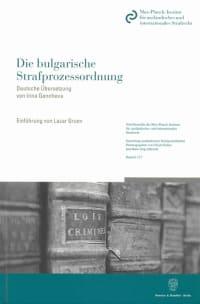 Cover Die bulgarische Strafprozessordnung