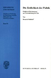Cover Die Zeitlichkeit der Politik