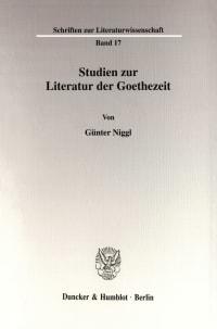 Cover Studien zur Literatur der Goethezeit