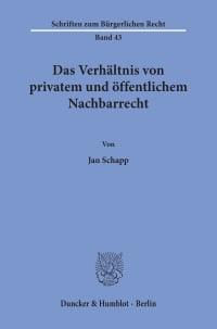 Cover Das Verhältnis von privatem und öffentlichem Nachbarrecht