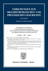 Cover Forschungen zur Brandenburgischen und Preußischen Geschichte (FBPG)