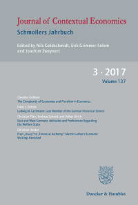 Cover Journal of Contextual Economics (JCE)