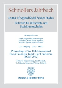 Cover Proceedings of the 10th International Socio-Economic Panel User Conference (SOEP 2012)